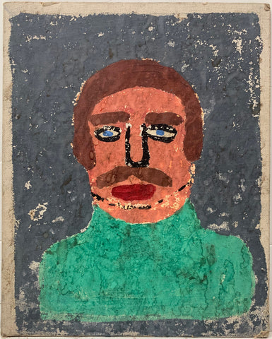 A painting by the Beaver of a portrait of a man with a brown moustache.