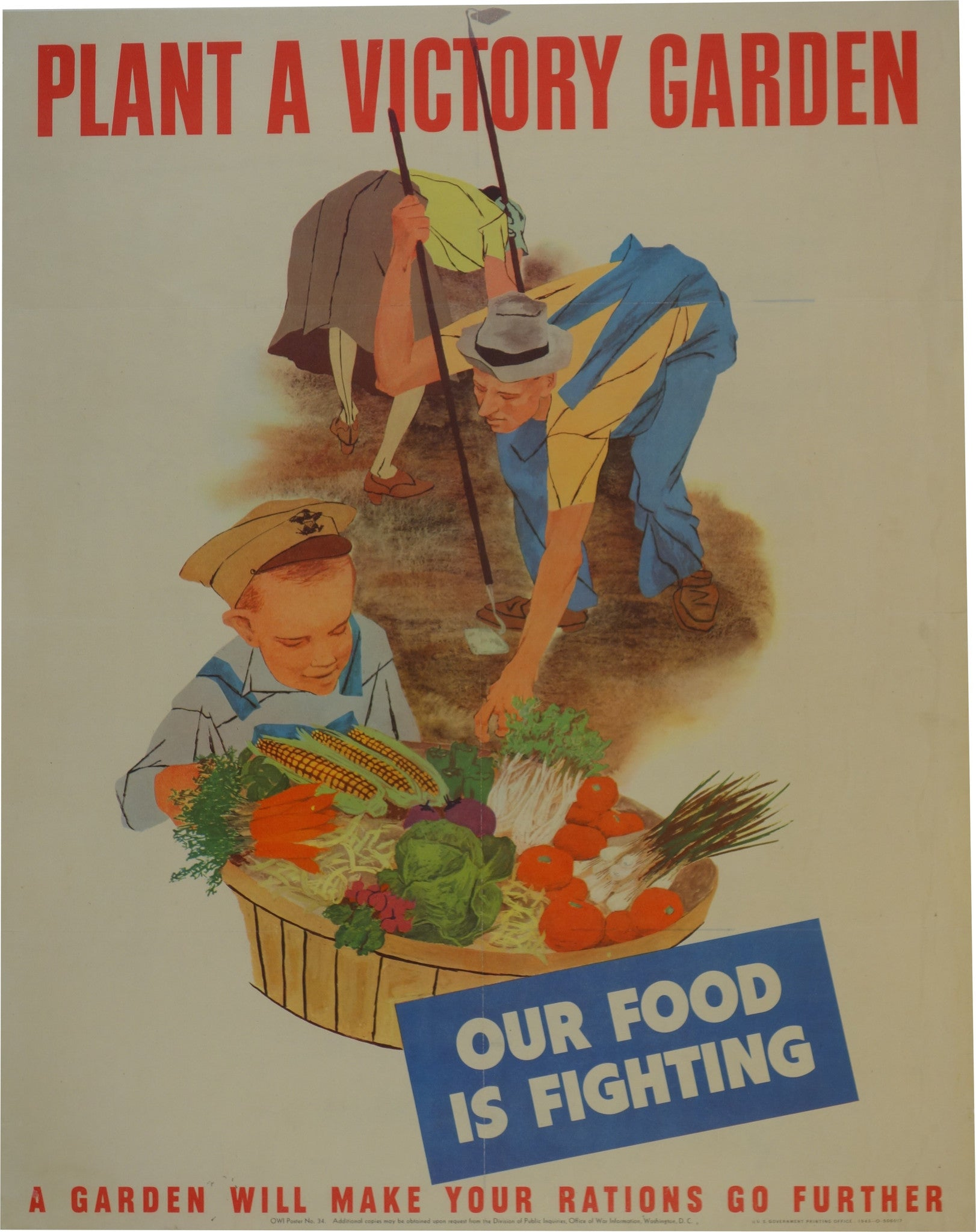 Plant A Victory Garden Our Food Is Fighting Owl Poster No 34