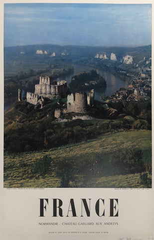 Poster featuring a photograph of Chateau Gaillard overlooking a village in Andelys