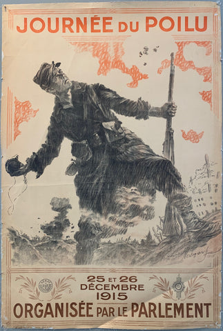 A pencil sketch of a soldier throwing a grenate with red and brown writing around.