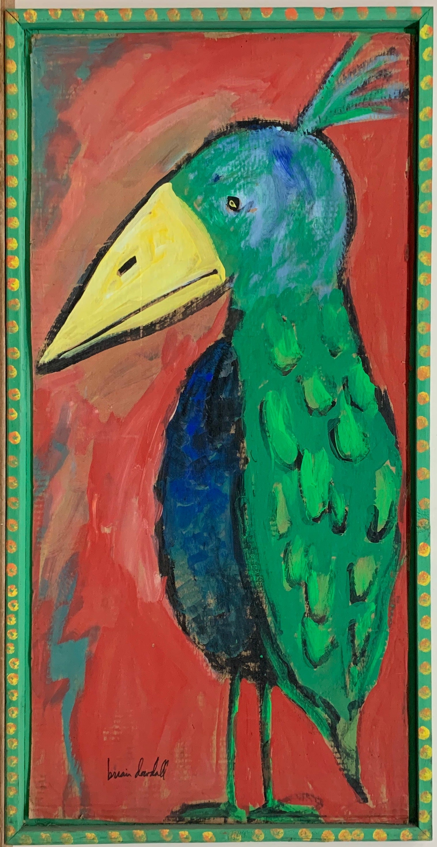 A Brian Dowdall painting of a colorful bird with green and blue feathers and a yellow beak.