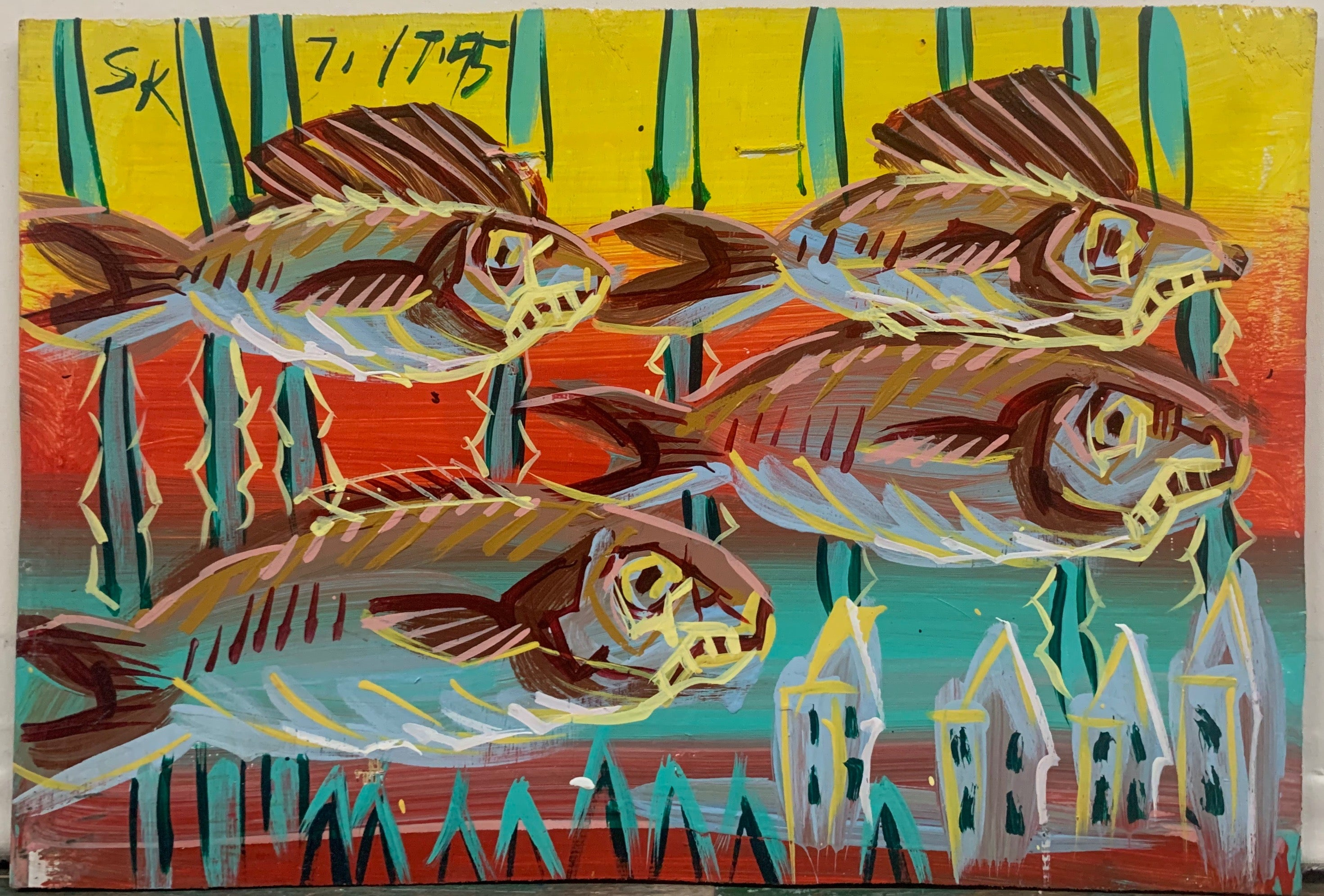 A Steve Keene painting of a school of fish swimming past houses underwater.