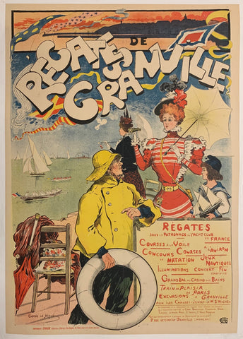 Turn of the Century poster advertising regattas at Granville. Illustrated a woman in a red dress holding a parasol is talking to a shorter woman in a yellow raincoat. They are on a beach, and behind them sailboats and rowboats are visible in the water.