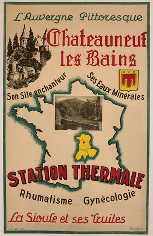 A cream colored background with a hunter-green border. A green-outline of France and then the Auvergne region in yellow, with a red dot showing the specifc commune. The bold print is in red, green, and black. A film picture of the river is in the center and a black-and-white sketch of a town on the side.