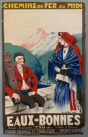 Two traditionally dressed residents sit on an overlook, the town nestled in the valley below. The mountain peaks stand out, matching the blue, red, and green color scheme of the rest of the poster. The border is a brown color with bold yellow, white, and grey writing.