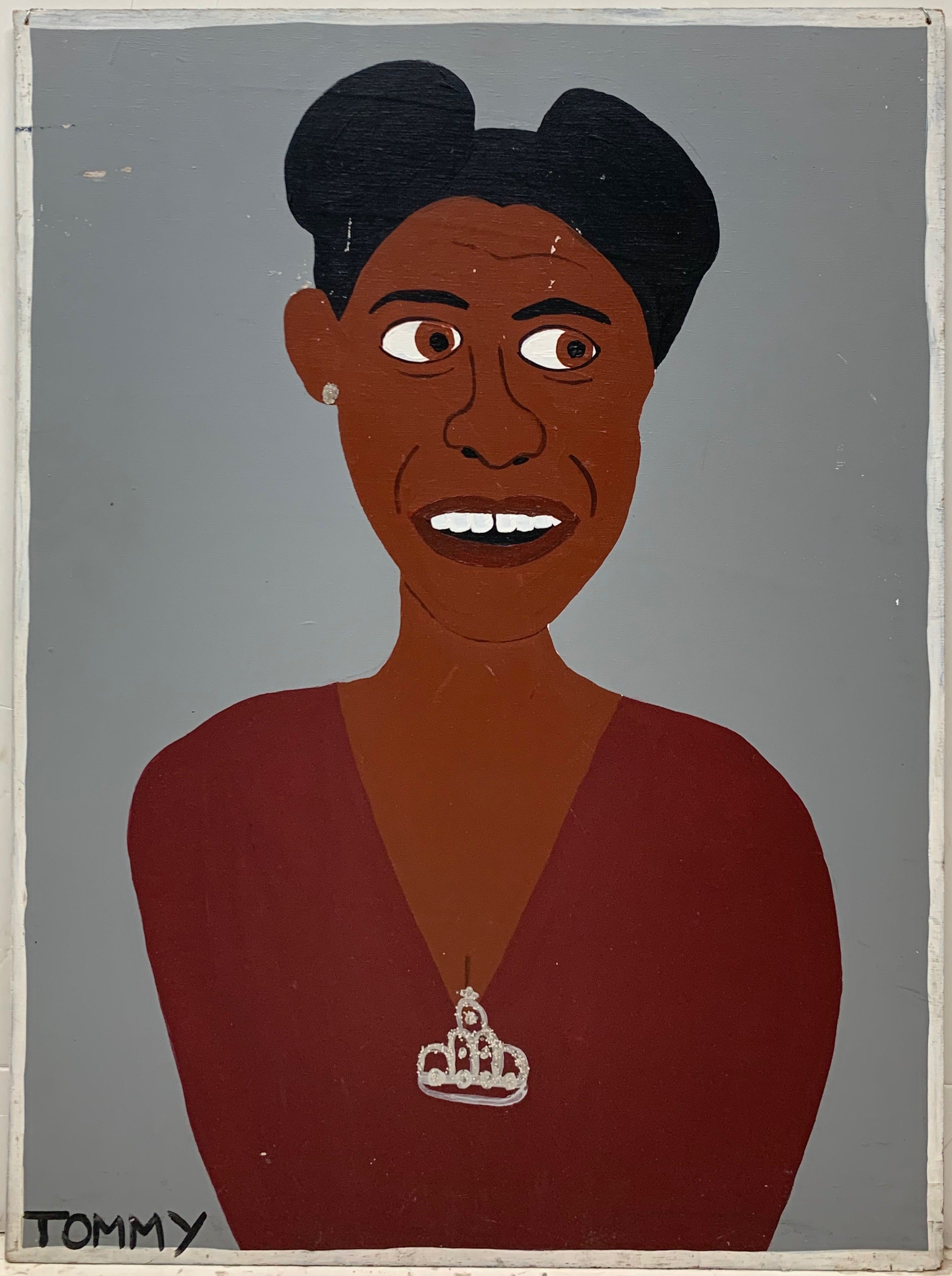 A Tommy Cheng portrait of Ella Fitzgerald wearing a red dress with a diamond crown brooch attached.