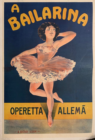 Portuguese poster of a ballerina dancer.