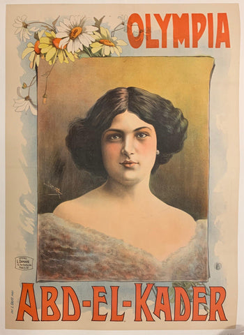Vintage French poster from the turn of the century. Portrait of a woman with black hair in a white dress. Daisies frame the portrait.