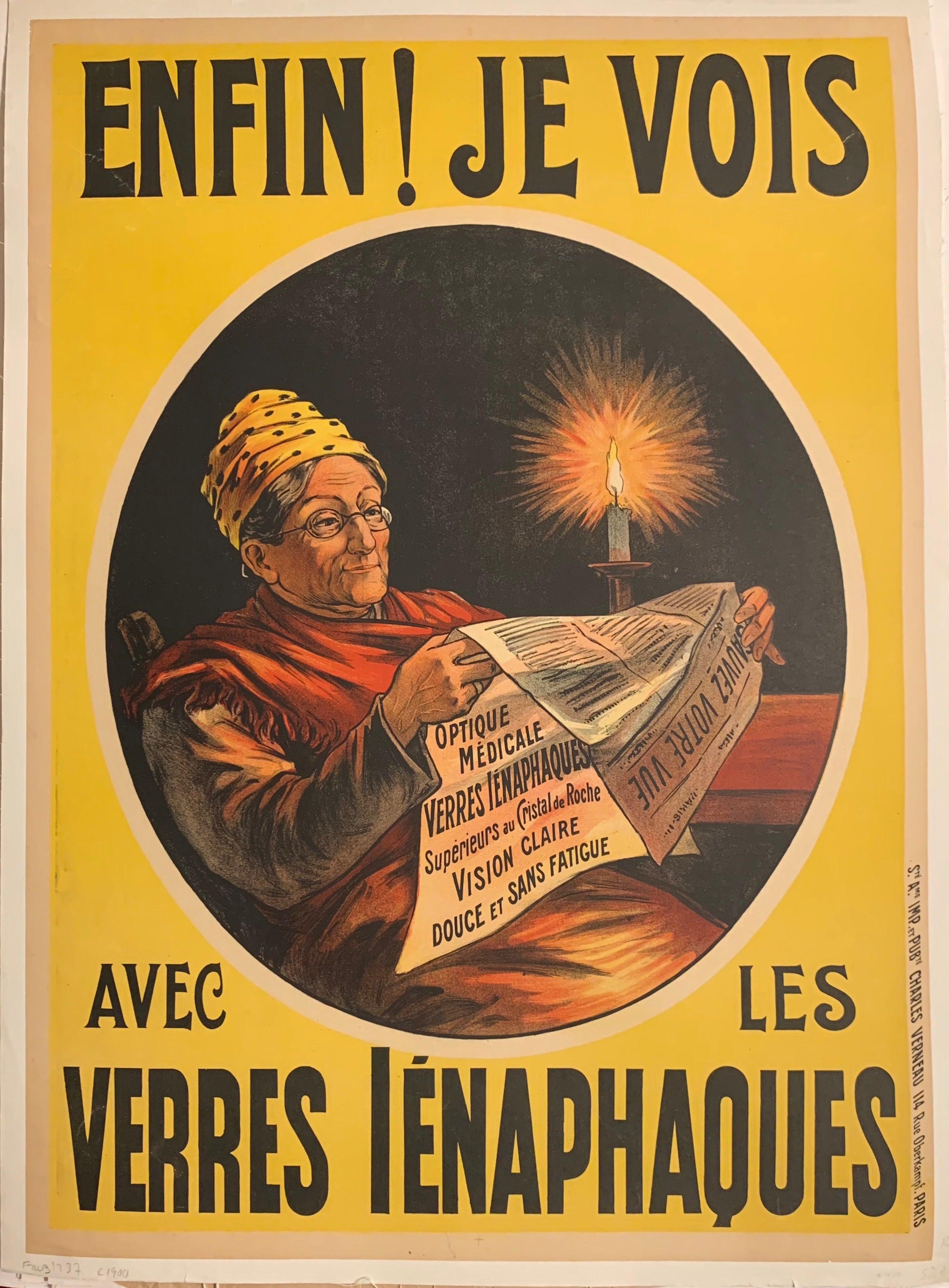 Turn of the Century poster of an old woman with eyeglasses reading the newspaper by the candle light.