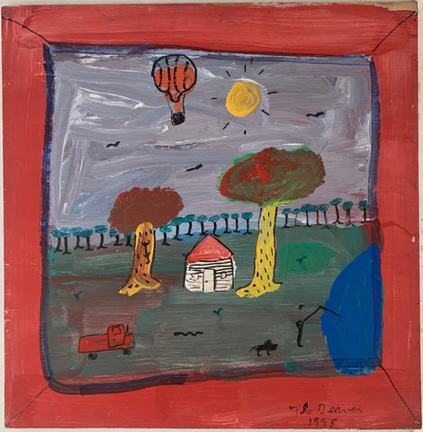 A landscape by the Beaver of a solitary house in a forest next to a lake. In the sky is a bright yellow sun and an orange hot air balloon. A man is fishing in the lake with his dog. A red tractor stand in the field.