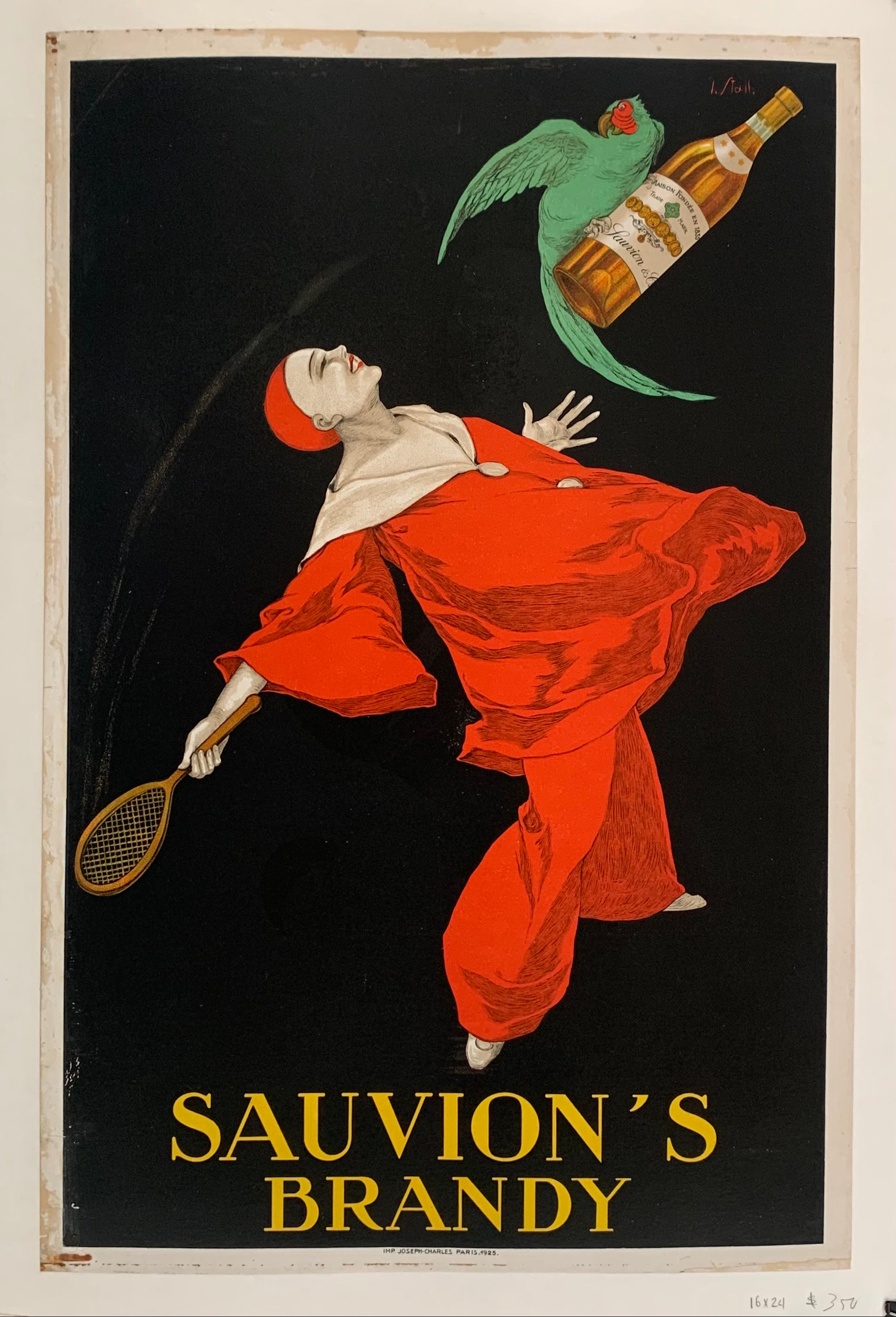 Poster showing a parrot stealing a bottle of brandy