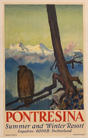 Pontresina Summer and Winter Resort Travel Poster