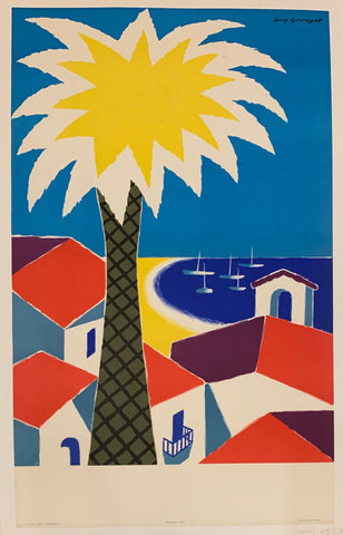 Poster of a colorful beach with a yellow palm tree, red rooftops, and a deep blue view of the sea.