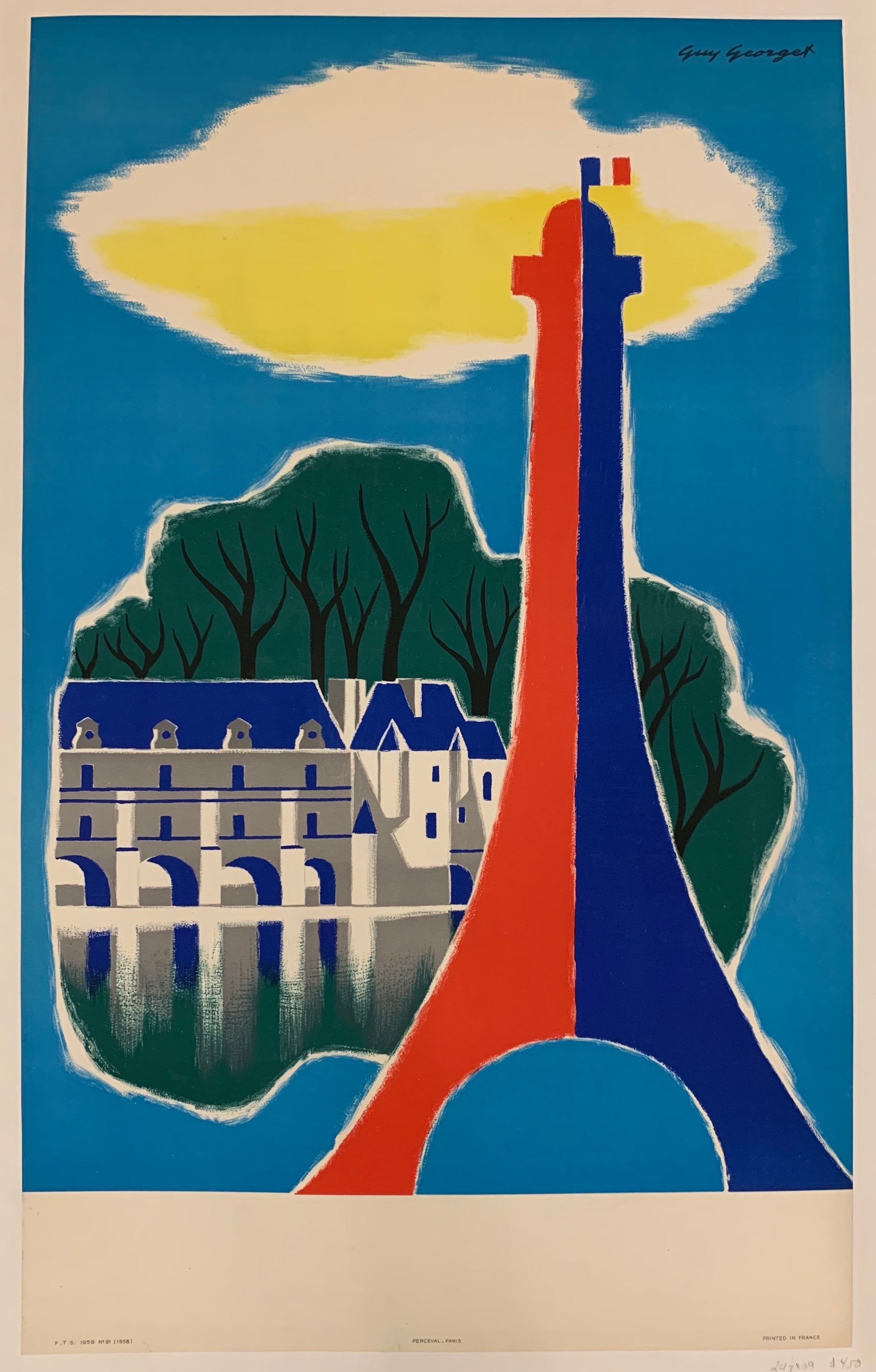 Poster of a red, white, and blue Eiffel Tower with an image of a chateau overlooking the water in the background.