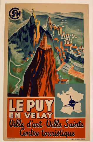 Poster of the French village le Puy en Velay, showing an overhead view of the village.