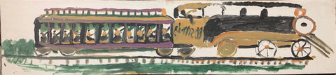 Train in Purple and Yellow #23, Jimmie Lee Sudduth Painting