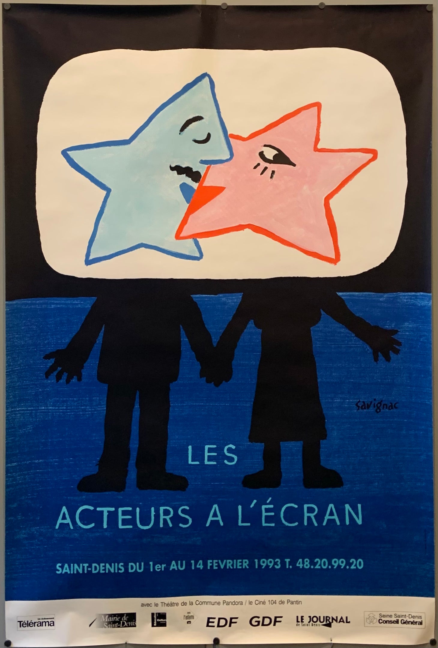 Poster for a film festival showing a couple with stars for heads, kissing.
