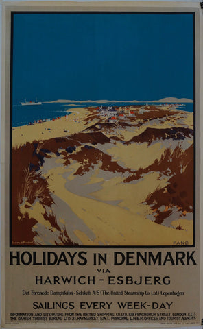 Holidays in Denmark via Harwich - Esbjerg - Poster Museum