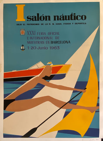 Poster of a rower and a speedboat on the water
