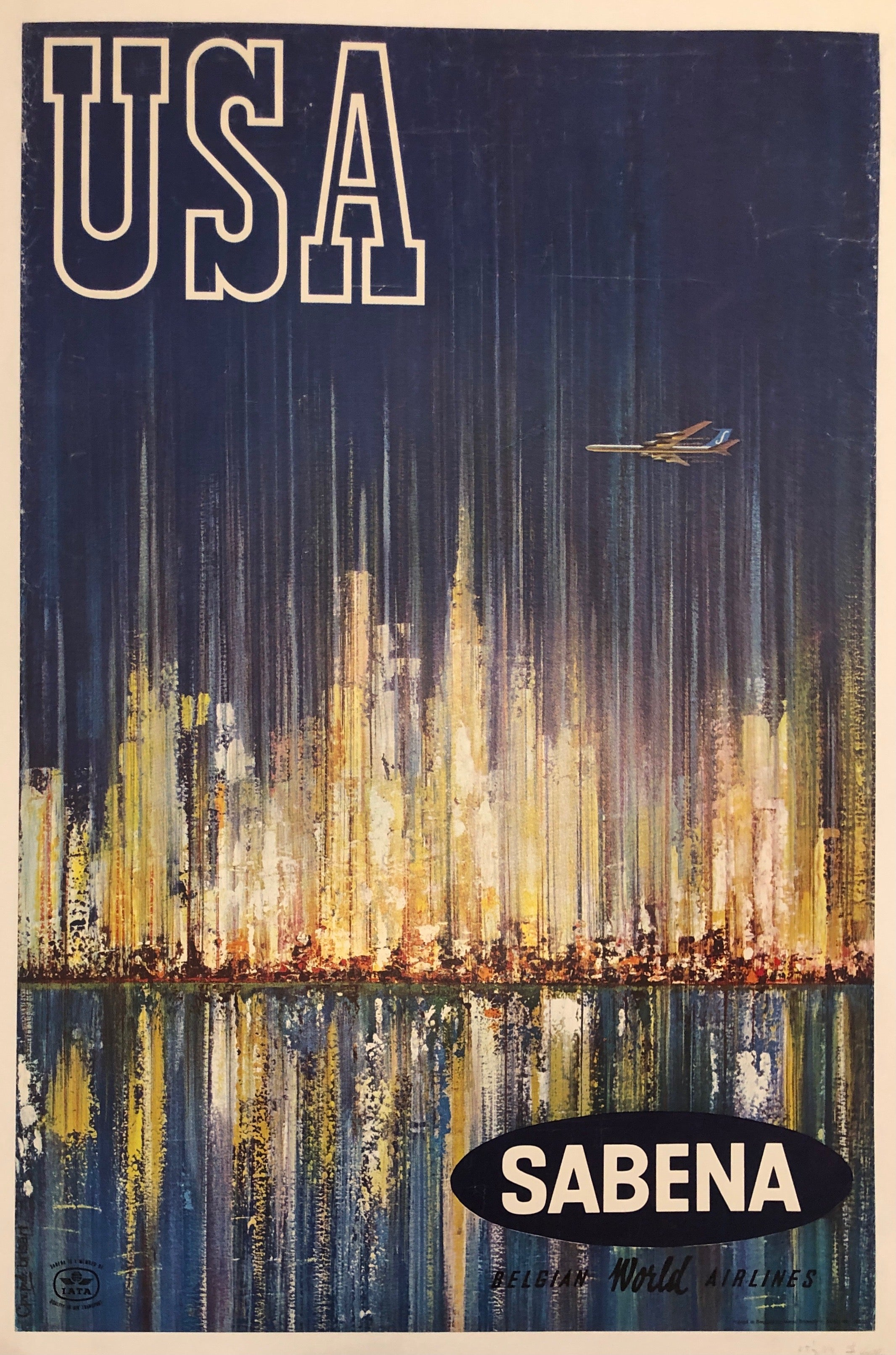 USA Sabena Airlines Travel Poster