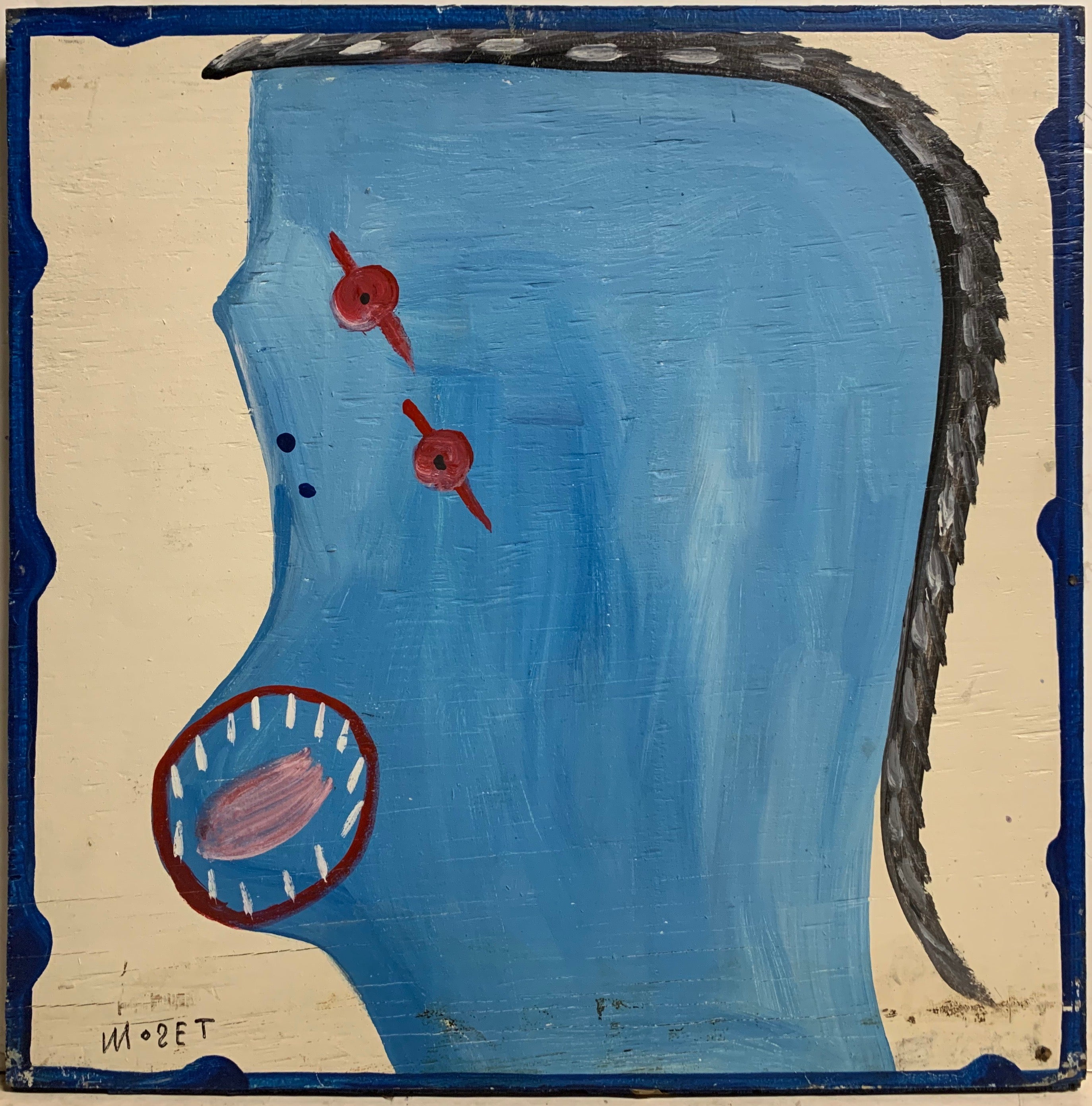 Blue and Red Self Portrait Mose Tolliver Painting