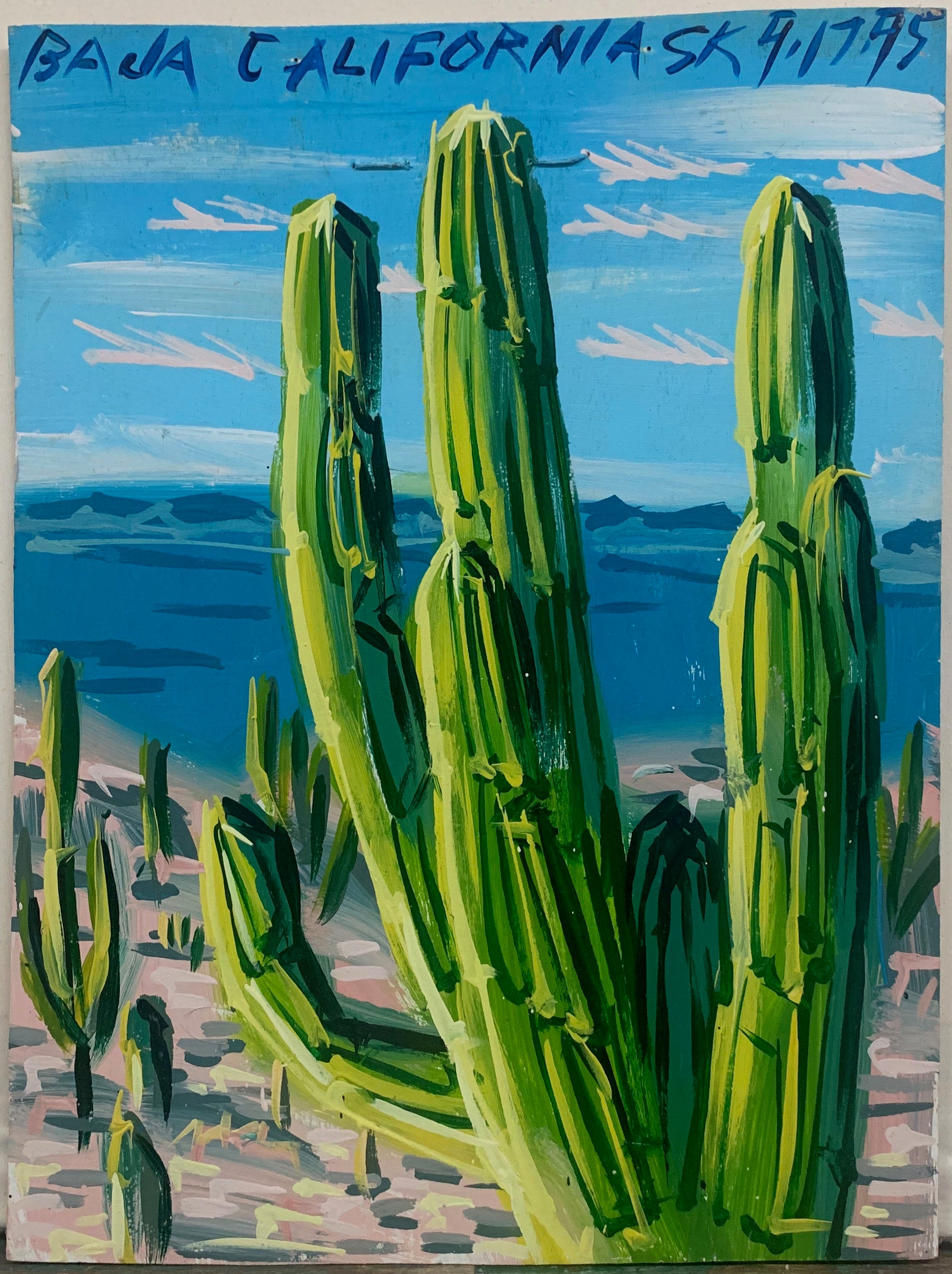 A Steve Keene painting of Baja, California with cacti.