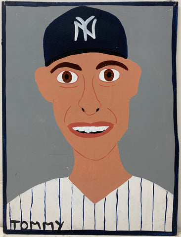 A Tommy Cheng portrait of Derek Jeter in a New York Yankees baseball cap and uniform.