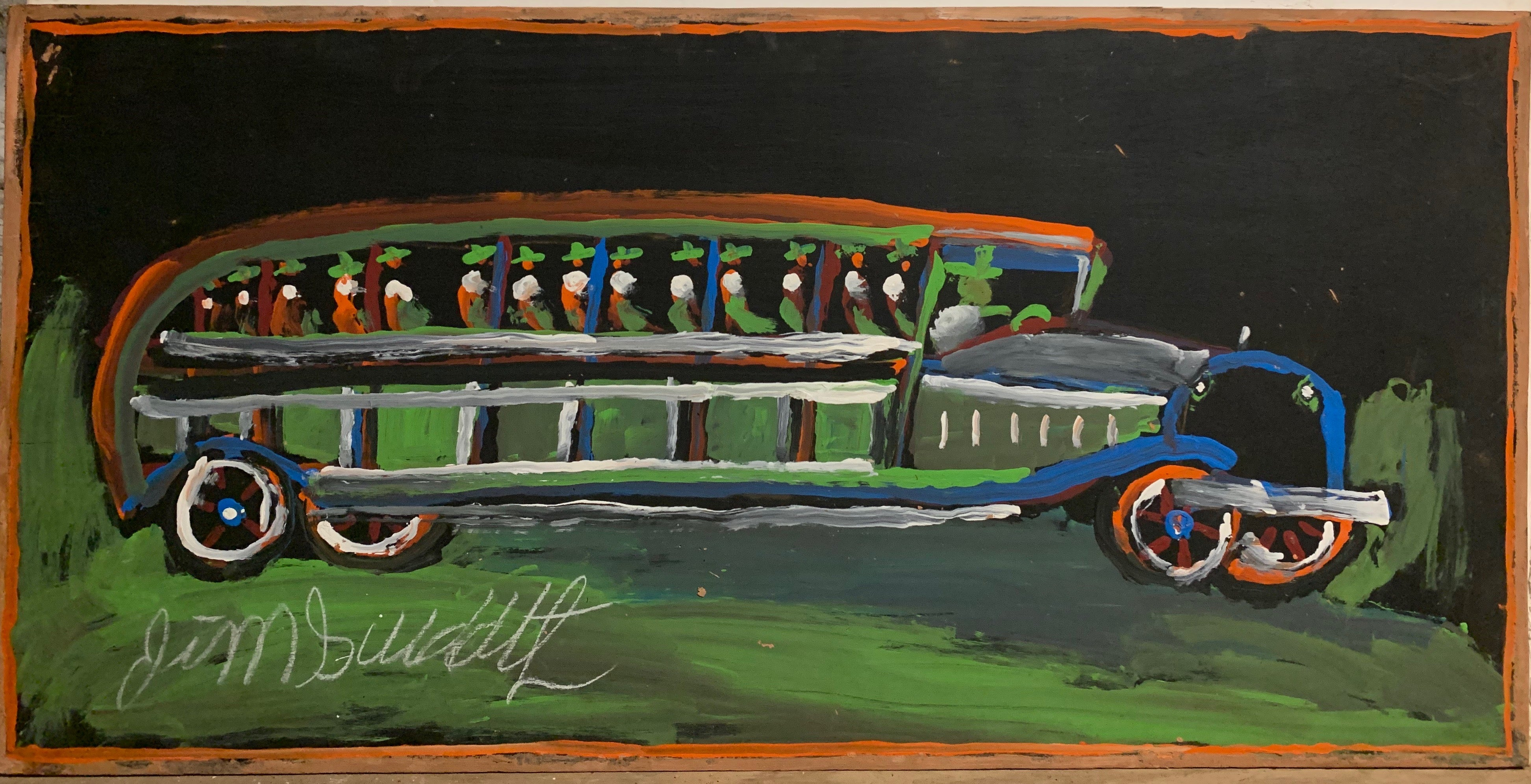 A painting of a green bus.