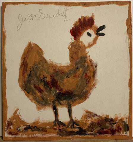 A Jimmie Lee Sudduth painting of a happy little hen.