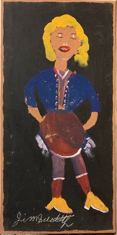 A painting of a blond lady.