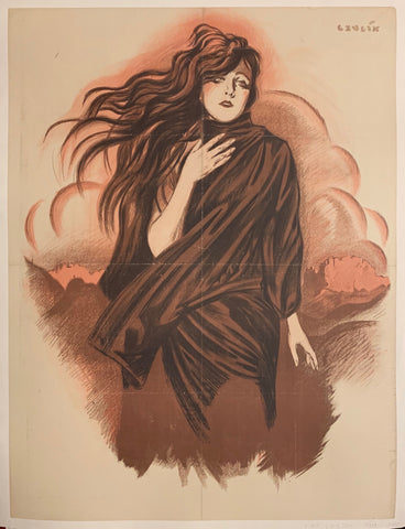 Poster of a woman with long black hair holding her hand against her chest, wearing a black shawl.