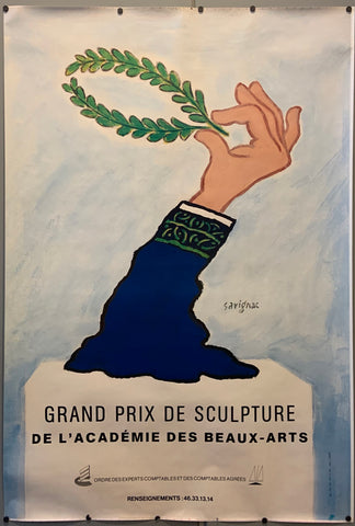 Poster for a sculpture competition, showing a disembodied arm holding a laurel wreath.