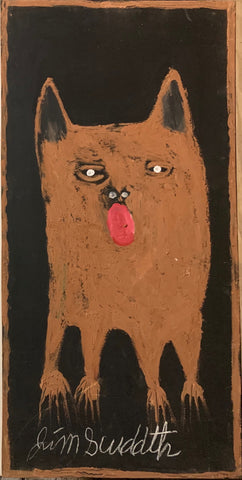A painting of a brown, panting dog.