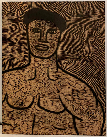 Muscled Man and Woman Staring, Double-Sided Woodblock