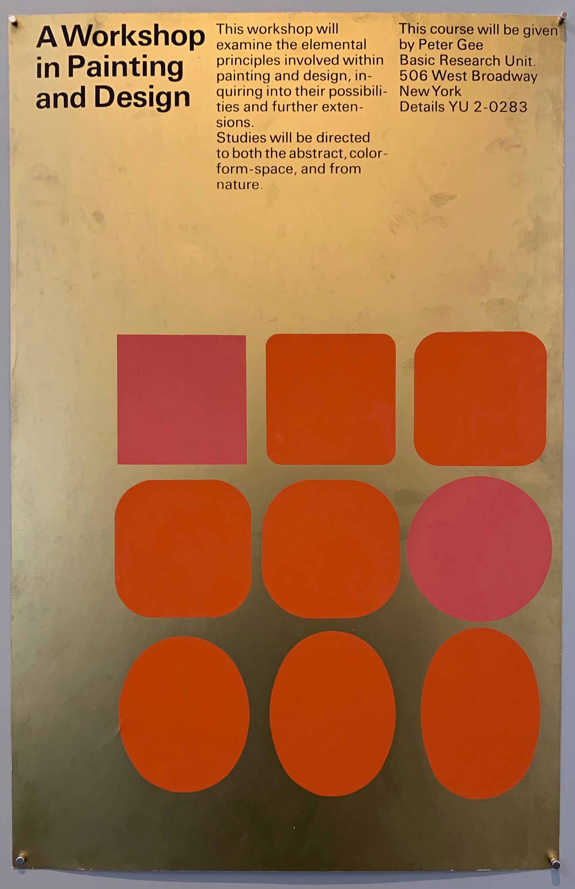 Gold poster with orange and pink squares and ovals
