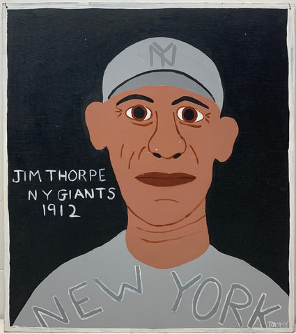 Tommy Cheng portrait of Jim Thorpe in a gray Yankees uniform.