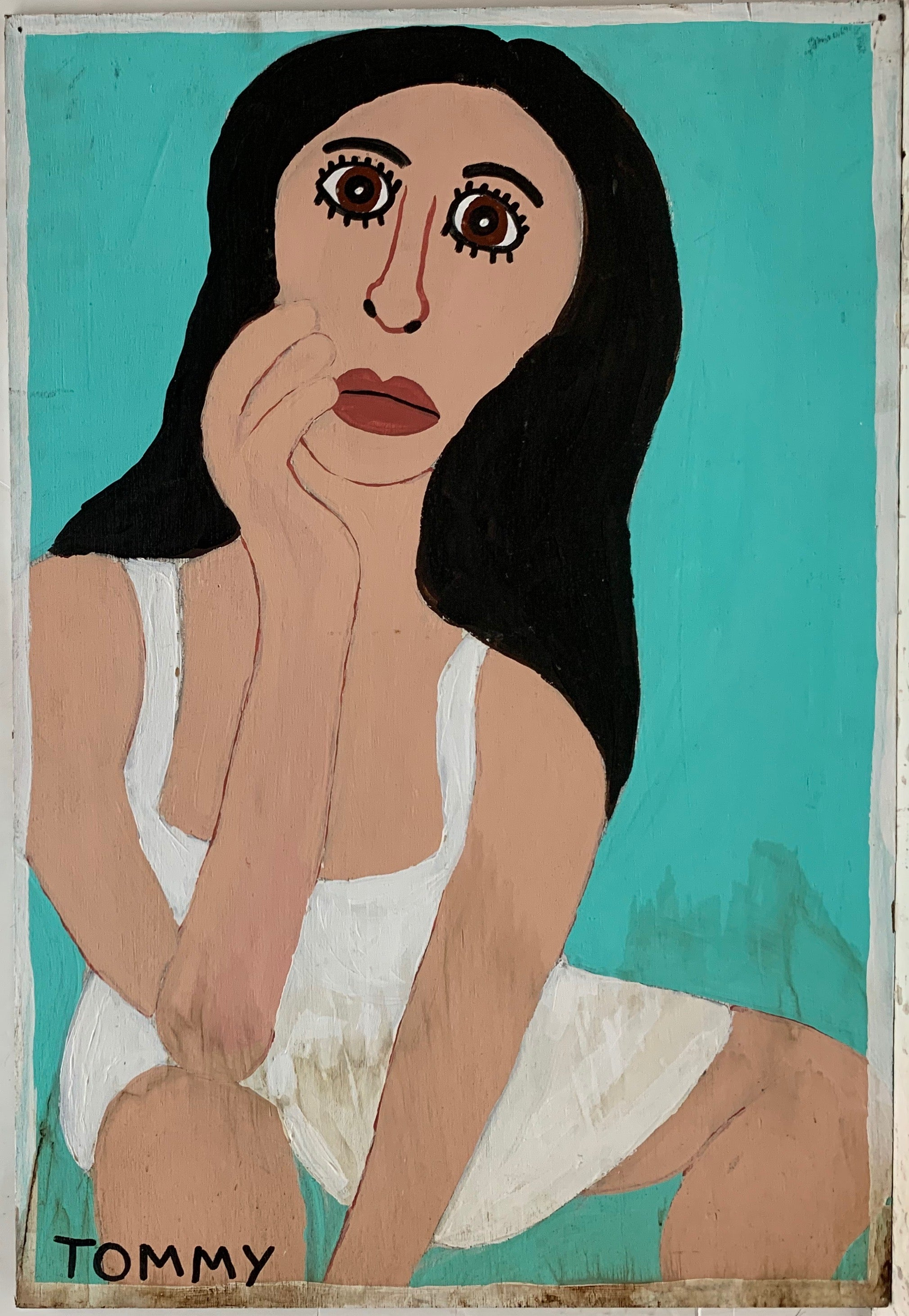 A Tommy Cheng portrait of a woman which black hair and white dress with a worried look on her face.