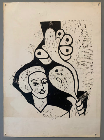 black and white woodblock print of a woman with a bouquet of flowers