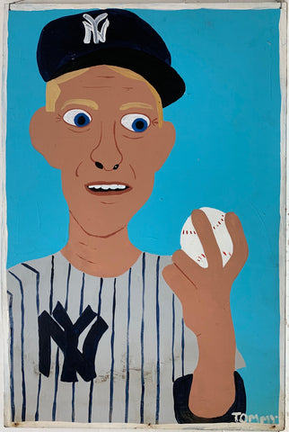 "A Tommy Cheng portrait of Ed ""Whitey"" Ford holding a baseball and dressed in a New York Yankees uniform and baseball hat."