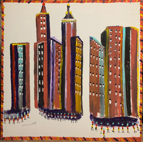 Skyscrapers #16, Jimmie Lee Sudduth Painting