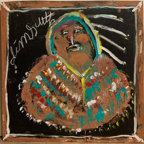 A Jimmie Lee Sudduth painting of a Native American.