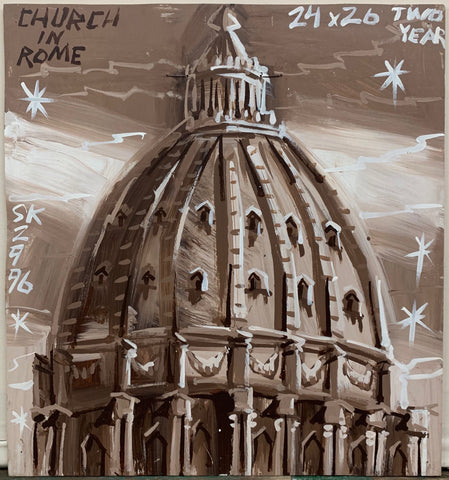 A painting by Steve Keene of the domed roof of a church in Rome, painted in a sepia palette.