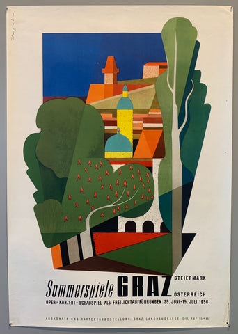 SHows an abstract image of Steiermark, with trees and buildings in the background.