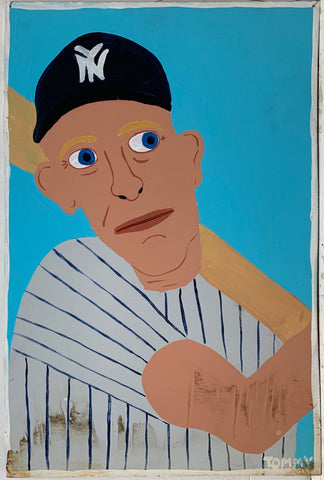 A Tommy Cheng portrait of Mickey Mantle up for bat in a New York Yankees baseball hat and uniform.