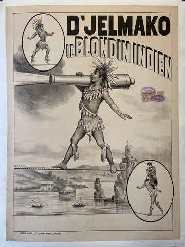 Poster in black and white of a Native American walking across a tightrope