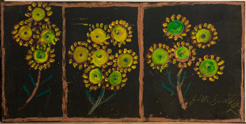 A triptych of three sunflower bouquets.