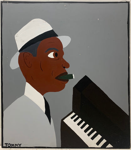 "A Tommy Cheng portrait of jazz pianist Earl ""Fatha"" Hines sitting before a piano, wearing a white fedora, a gray suit, and with a green cigar in his mouth."