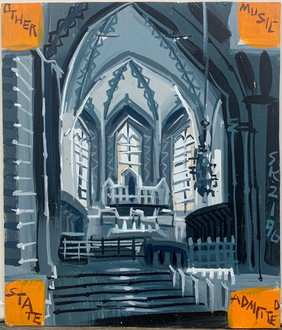 A Steve Keene painting of a black and white church altar.