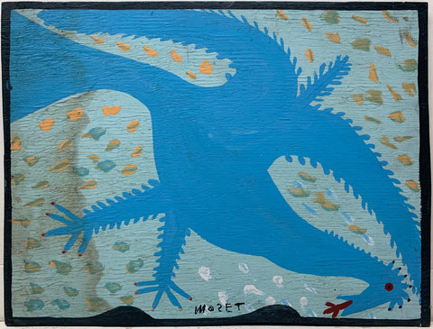 A Mose Tolliver painting of a blue bird.