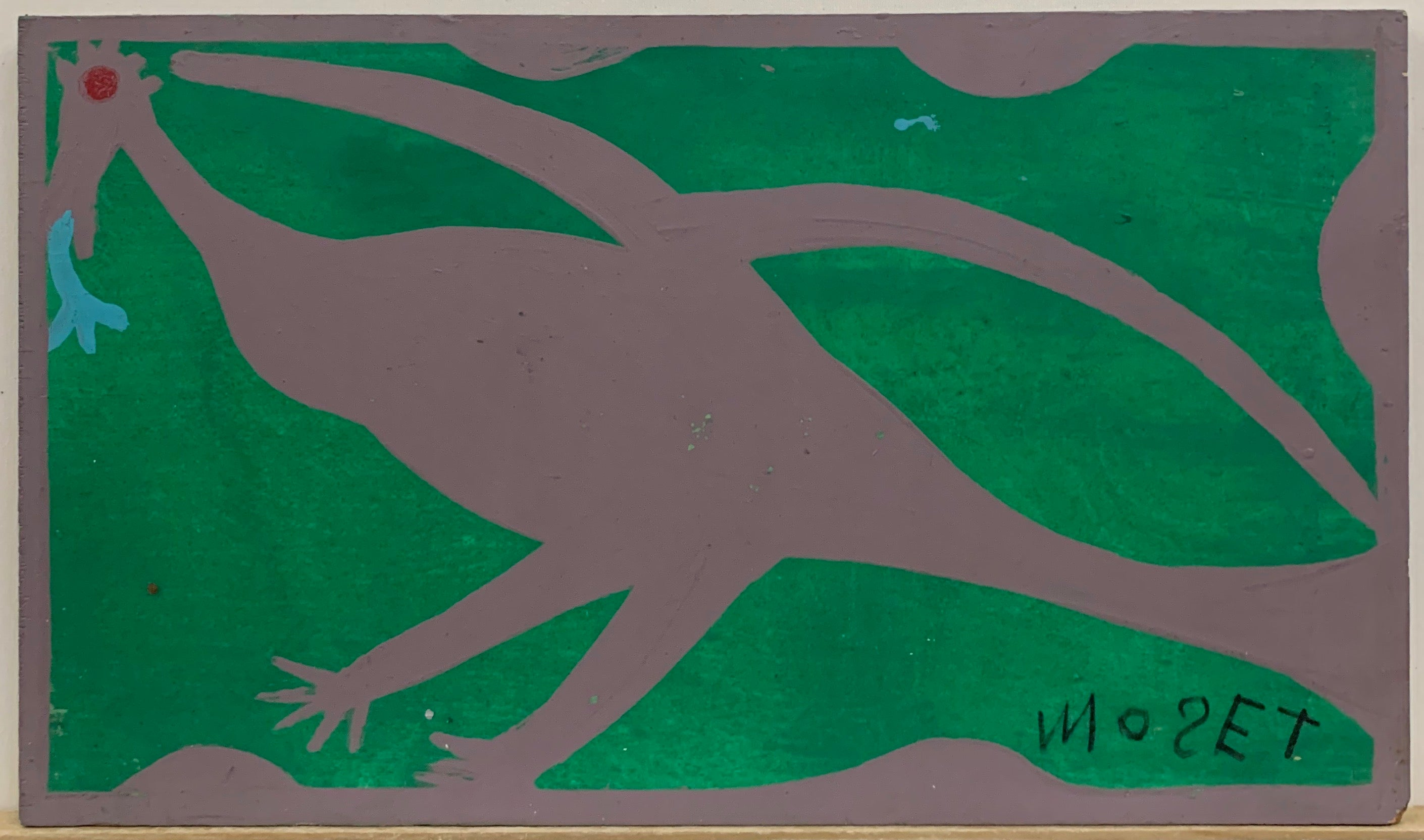 A Mose Tolliver painting of a purple bird with a red eye and a blue tongue on a green background.